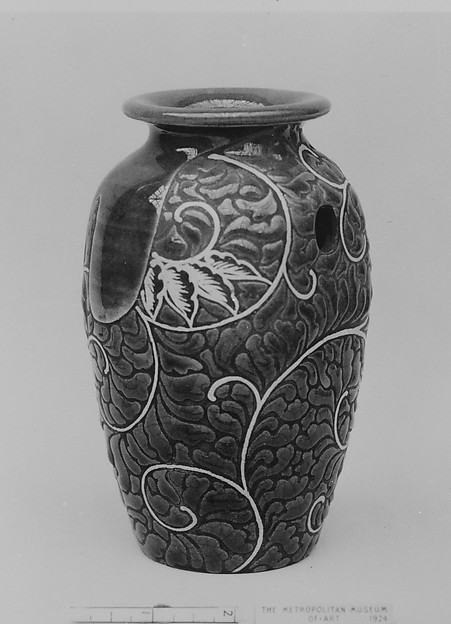 Vase for a Pillar, Rakutozan (Japanese,), Faience with enamel decoration in low relief on unglazed surface, craquelé (Kyoto ware, Hozan style), Japan