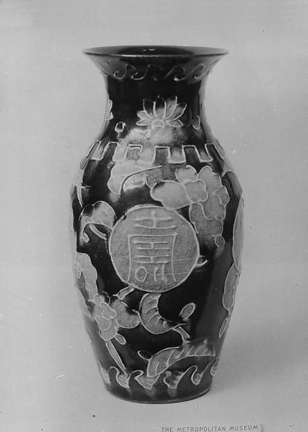 Vase, Stoneware covered with glaze, craquelé (Kairakuen ware), Japan