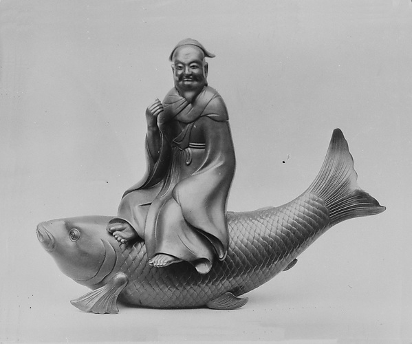 Censer in form of Kinko Sitting on a Carp, Stoneware covered with a thin glaze resembling bronze (Bizen ware), Japan