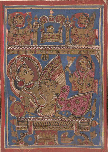 Queen Trisala Nursing the Newborn Mahavira: Folio from a Kalpasutra Manuscript, Ink, opaque watercolor, and gold on paper, India (Gujarat)
