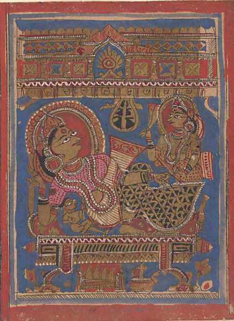 Mahavira's Birth ?; Page from a Dispersed Kalpa Sutra (Jain Book of Rituals), Ink, opaque watercolor, and gold on paper, India (Gujarat)