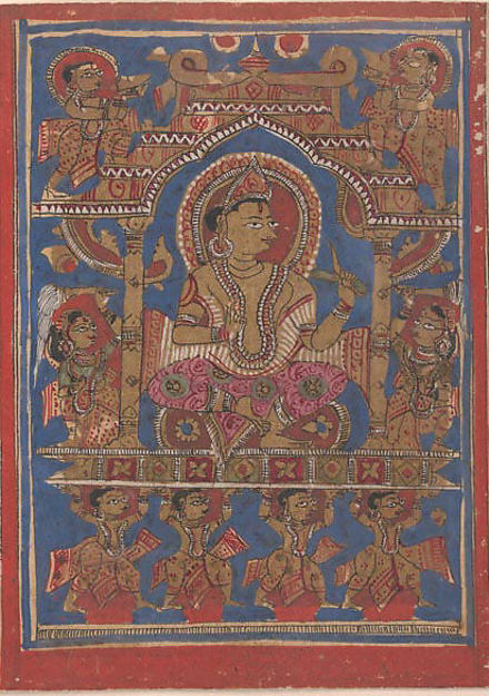 Mahavira Rides in His Initiation Palanquin: Folio from a Kalpasutra Manuscript, Ink, opaque watercolor, and gold on paper, India (Gujarat)