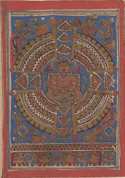 Mahavira's Samavasarana: Folio from a Kalpasutra Manuscript, Ink, opaque watercolor, and gold on paper, India (Gujarat)