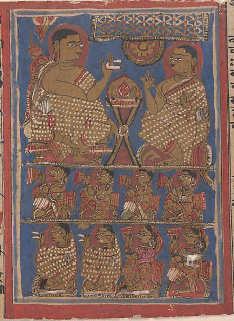 Mahavira Preaching the Samacari (top) / Part of Mahavira's Audience as He Preached the Samacari (bottom); Page from a Dispersed Kalpa Sutra (Jain Book of Rituals), Ink, opaque watercolor, and gold on paper, India (Gujarat)