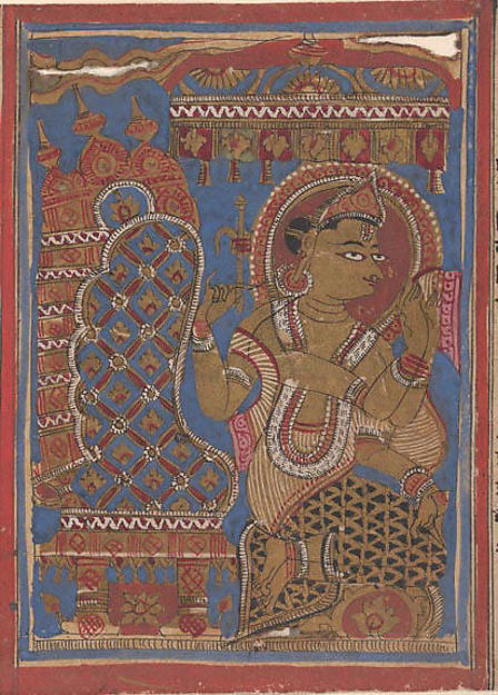 Shakra (Indra) Reveres the Embryo of Mahavira: Folio from a Kalpasutra Manuscript, Ink, opaque watercolor, and gold on paper, India (Gujarat)