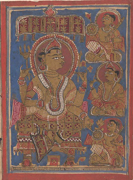 Shakra Enthroned, with a Deva and Generals: Folio from a Kalpasutra Manuscript, Ink, opaque watercolor, and gold on paper, India (Gujarat)