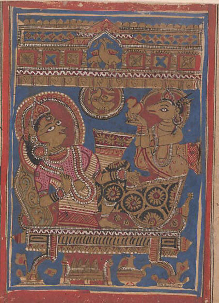 Harinaigamesin Brings the Embryo to Queen Trisala: Folio from a Kalpasutra Manuscript, Ink, opaque watercolor, and gold on paper, India (Gujarat)