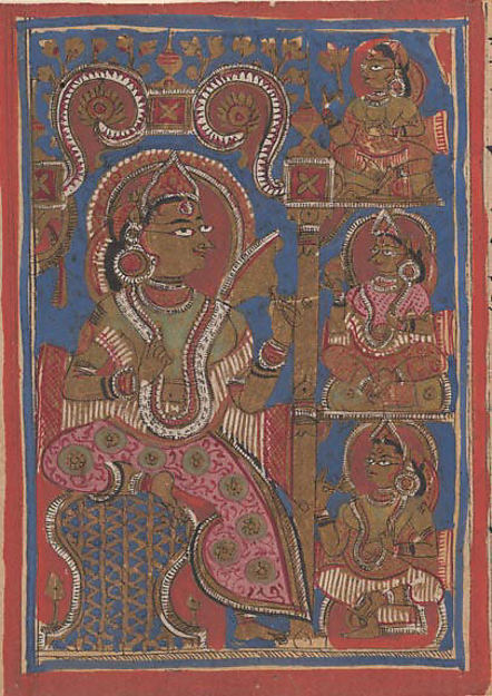 Queen Trisala's Joy (at the Confirmation of Her Conception): Folio from a Kalpasutra Manuscript, Ink, opaque watercolor, and gold on paper, India (Gujarat)