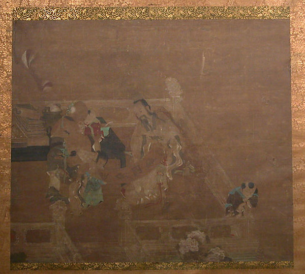 Terrace Scene with Figures, Unidentified Artist, Hanging scroll; ink and color on silk, China