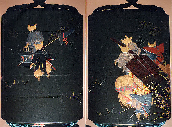 Case (Inrō) with Fox Wedding Procession, In the style of Shibata Zeshin (Japanese, 1807–1891), Colored lacquer and gold maki-e on wood  Netsuke: ivory in form of fox reclining on large leaf; Ojima: gold bead; connecting cord, dark green silk Inro with netsuke and ojime, Japan