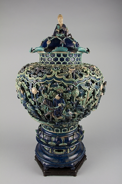 Covered Jar on a Pedestal, Porcelaneous stoneware with carved, pierced, and relief decoration in the biscuit, and under colored glazes, China