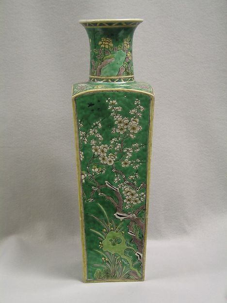 Vase (one of a pair), Porcelain painted in overglaze famille verte enamels, China