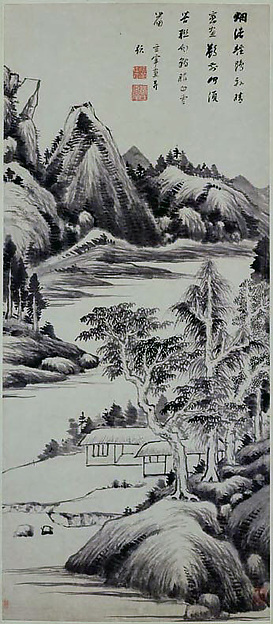 Summer Landscape, Attributed to Dong Qichang (Chinese, 1555–1636), Hanging scroll; ink on paper, China