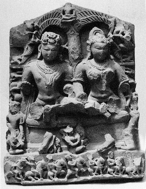 Parents of a Jina, Reddish stone, India (Gwalior, Jhansi)