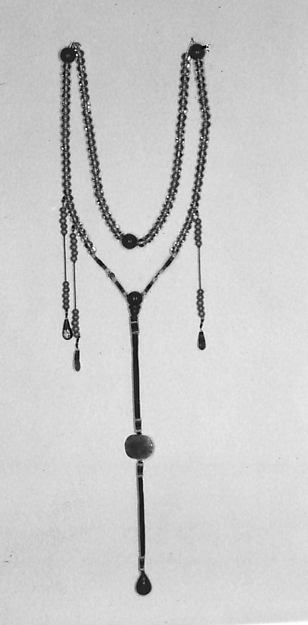 Court necklace, Glass, silk, metal wire, China