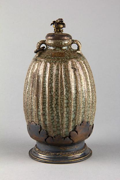 Vase, Glazed stoneware with silver gilt, China