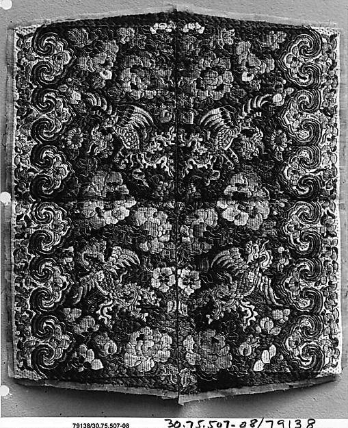 Panel, Silk, metallic thread;  on silk, China