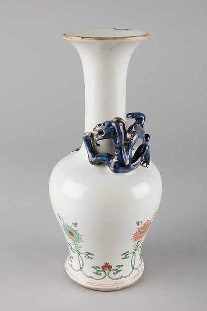 Vase, Porcelain with low-relief decoration, painted in overglaze iron-red and green, with dark blue glaze and gilt, China
