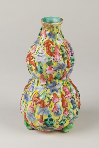 Vase, Porcelain with relief decoration painted in overglaze polychrome enamels, China