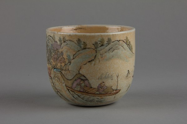 Cup, Porcelain with underglaze blue decoration and overglaze famille rose enamels, with a buff crackled glaze, China