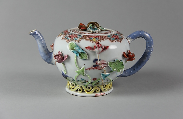 Teapot, Porcelain with relief decoration painted in overglaze famille rose enamels and gilt, China