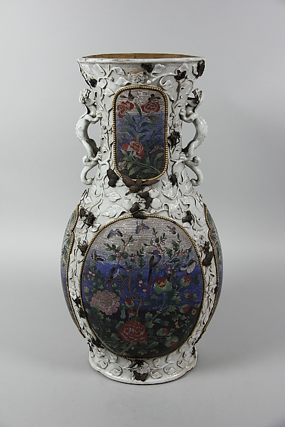 Vase, Porcelain with relief decoration, painted in overglaze polychrome enamels, and inlaid with cloisonné enamel panels, China