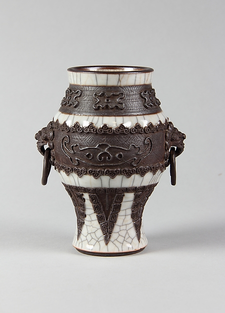 Vase, Porcelain with crackled glaze and brown biscuit-relief decoration simulating bronze, China