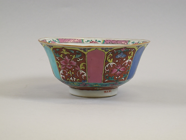 Bowl, Porcelain painted in overglaze iron-red and polychrome enamels, China
