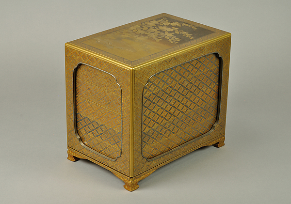 Set of Five Writing Boxes with Japanese Globeflowers, Plum Blossoms, and Interlaced Roundels, Lacquered wood with gold and silver hiramaki-e and applied gold foil on nashiji ground, Japan