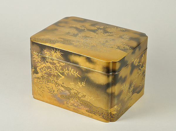 Box for Incense Set with Design of Plum and Bamboo, Gold maki-e on black lacquer, Japan
