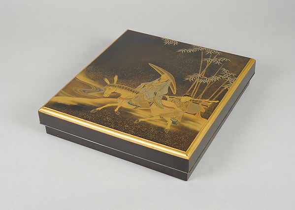 Writing Box with Chinese Poet Su Dongpo and Attendant, Black lacquer with gold, silver, and red togidashimaki-e, Japan