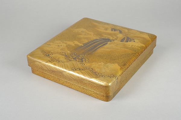 Writing Box (suzuribako) with Waterfall and Auspicious Characters, Lacquered wood with gold and silver takamaki-e, hiramaki-e, togidashimaki-e, and gold inlay on nashiji ground, Japan