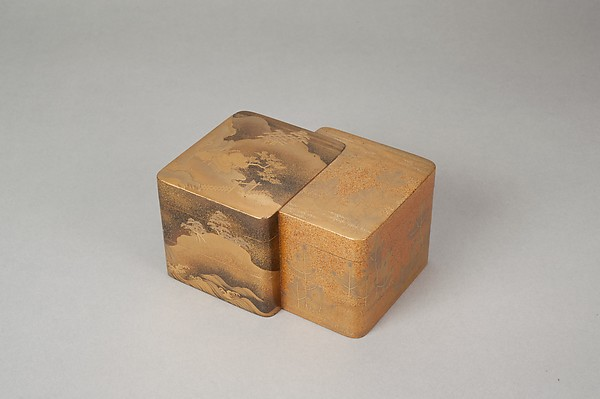 Incense Box with Designs of Pines Along the Shore and Young Pines, Gold maki-e on black lacquer, Japan