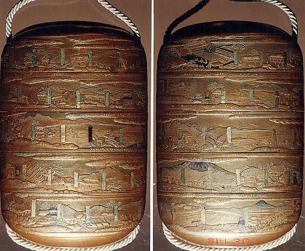 Case (Inrō) with Design of Fifty-Three Stations of the Tokaidō in Japan, Lacquer, kinji, gold and silver hiramakie, takamakie, gold foil and kirigane; Interior: nashiji and fundame, Japan