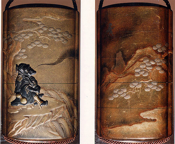 Case (Inrō) with Design of Sage Seated on Rocks beside a Tree, Exhaling His Spirit (obverse); His Spirit Walking on Air (reverse), Lacquer, kinji, gold and silver hiramakie, takamakie, togidashi, metal inlay; Interior: nashiji and fundame, Japan