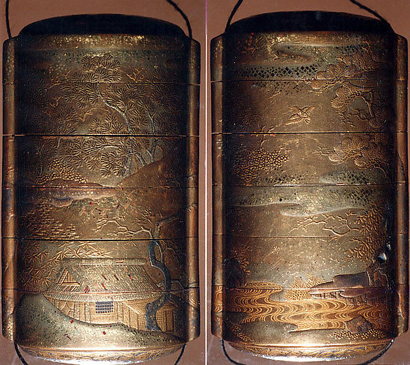 Case (Inrō) with Design of Thatched Building in Hilly Landscape with Trees and Waves with Nestuke of Thatched Building in a Landscape, Lacquered wood with gold, silver maki-e, cut-out gold foil, Japan