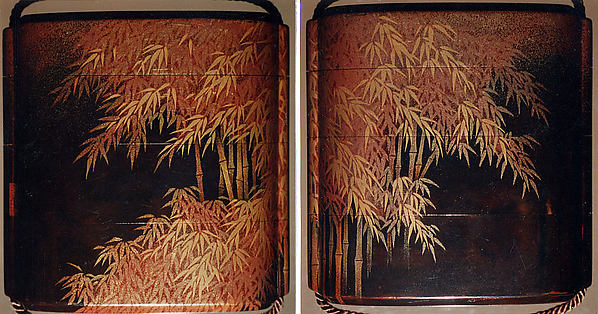 Inrō with Bamboo Grove, In the style of Shiomi Masanari (Japanese, active late 17th–mid-18th century), Three cases; lacquered wood with gold togidashimaki-e Netsuke: tiger in the bamboo grove; ivory Ojime: bamboo and sparrows; bronze with gold inlay, Japan