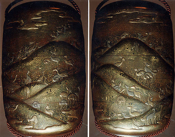 Case (Inrō) with Design of Deer in a Hilly Landscape, Lacquer, kinji, gold and silver hiramakie, nashiji and kirigane; Interior: nashiji and fundame, Japan