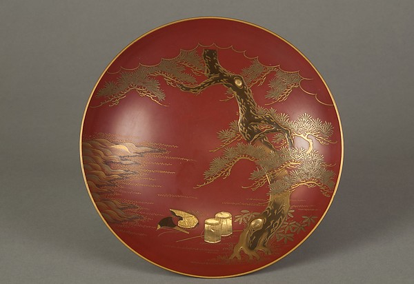 Sake Cup, Shomosai (Japanese, active late 18th–early 19th century), Gold lacquer on red lacquer ground, Japan