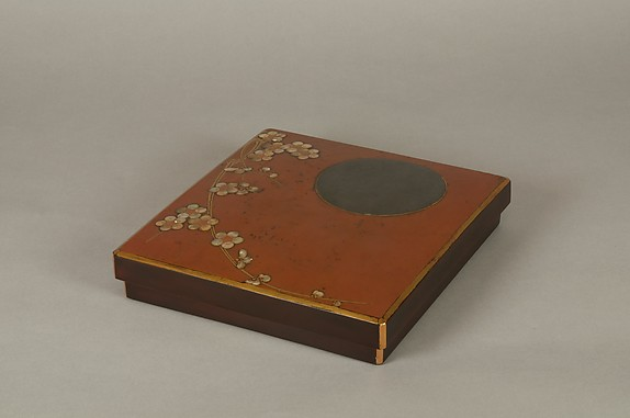 Writing Box with Design of Plum Blossoms and Moon, Reddish-brown lacquer with gold hiramaki-e, lead, and mother-of-pearl inlay, Japan