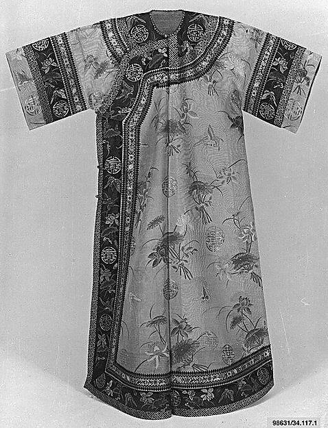 Woman's Robe with Lotus Flowers, Silk embroidery on silk gauze, China