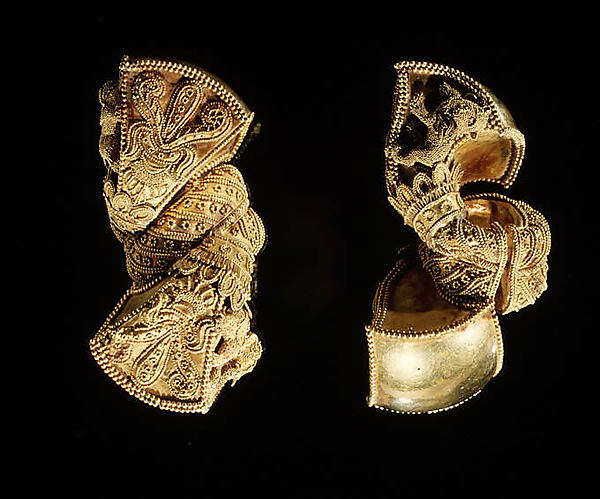 A Pair of Royal Earrings, Gold, India (probably Andhra Pradesh)