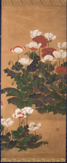 Poppies, Attributed to Kitagawa Sōsetsu (active 1639–50), Hanging scroll; color and gold on paper, Japan
