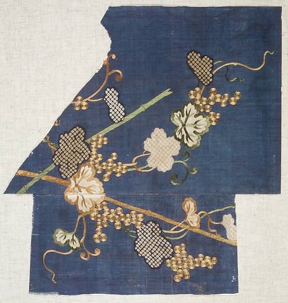 Fragments of a Summer Kosode (Katabira) with Grapevine, Shibori-dyed plain-weave bast fiber (asa) embroidered with silk and metallic thread, Japan