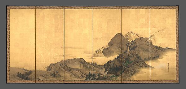 Landscape with Pavilion, Mori Shūhō (Japanese, 1738–1823), Pair of six-panel folding screens; ink, color, gold flecks, and gold leaf on paper, Japan