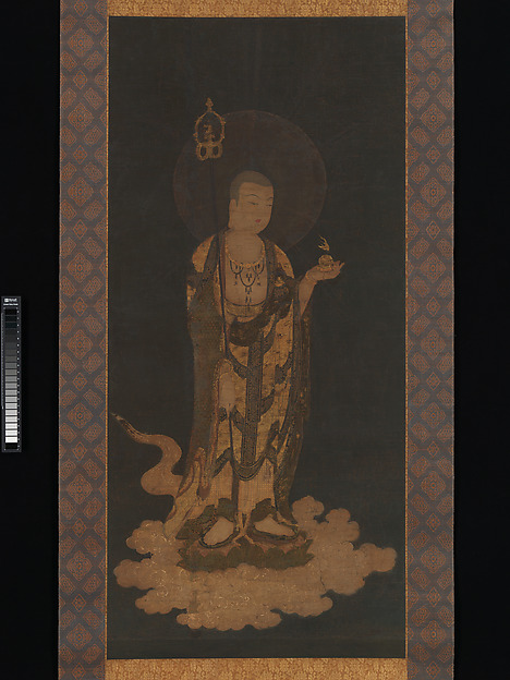 Jizō Bosatsu, Hanging scroll; ink, color, and gold on silk, Japan