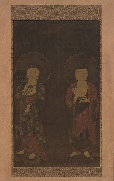 Amitabha and Kshitigarba, Unidentified Artist, Hanging scroll; ink and color on silk, Korea