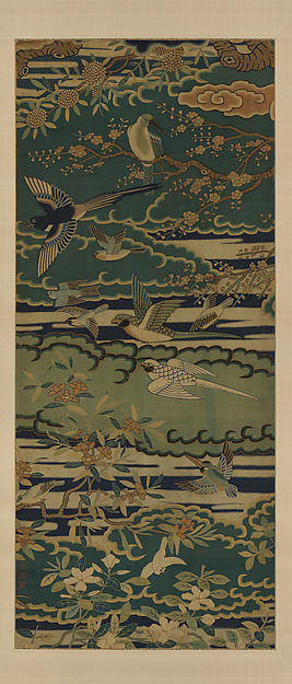 Birds among flowering branches against clouds, Silk tapestry (kesi), China