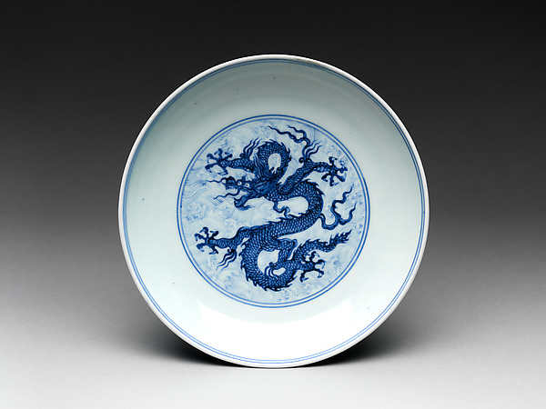 Dish with dragon amid waves, Porcelain painted with cobalt blue under transparent glaze (Jingdezhen ware), China