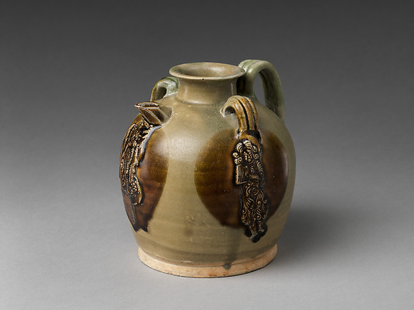 Ewer with Dancing Figure, Stoneware with white slip, pigment, and applied decoration under straw glaze (Changsha ware), China